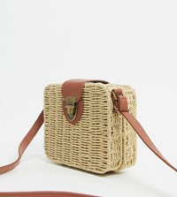South Beach Exclusive Rattan Cross Body Bag In Natural Beige