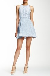Want And Need Embroidered Denim Skater Dress Gray