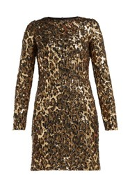 Dolce And Gabbana Leopard Print Sequinned Mini Dress Leopard