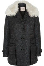 Tod's Montgomery Shearling Trimmed Wool Blend Tweed Coat