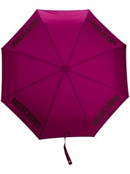 Moschino Logo Printed Umbrella Purple