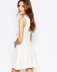 Vila Cutwork Lace Open Back Skater Dress Snow White