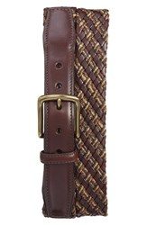 Torino Belts Men's Big And Tall Woven And Leather Belt Brown