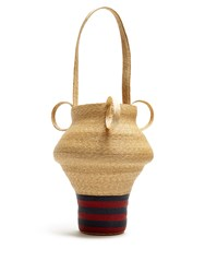 Rosie Assoulin Striped Woven Straw Jug Bag Navy Stripe