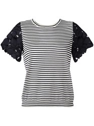 Dorothee Schumacher Lace Sleeve Striped T Shirt White