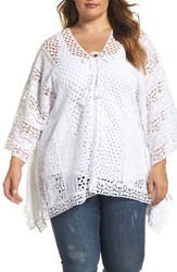 Xcvi Plus Size Women's Wearables Jace Embroidered Cotton Poncho White