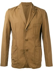 Aspesi Khaki Jacket Men Cotton Linen Flax L Brown
