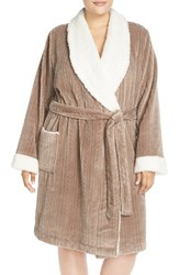 Plus Size Women's Nordstrom Cable Knit Plush Robe Beige Goat
