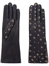 Agnelle Gloves With All Over Rivets And Studs Blue