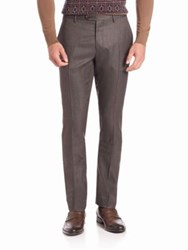 Etro Jacquard Silk And Wool Trousers Grey Brown