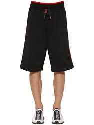 Dolce And Gabbana Cotton Jersey Shorts W Lettering Tape Black