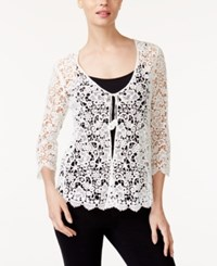 Alfani Petite Cotton Crochet Lace Cardigan Only At Macy's Bright White