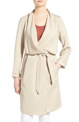 Women's Kensie Belted Drape Front Trench Coat Sand