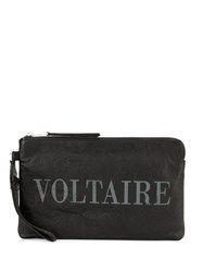 Zadig And Voltaire Logo Zipped Clutch Black