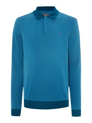 Peter Werth Hemmingford Cut Knitted Polo Shirt Ocean