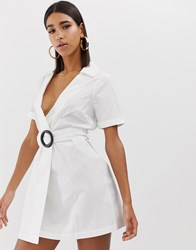 Fashion Union Wrap Shirt Dress With Wooden Ring Detail White