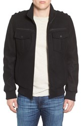 Black Rivet Men's Wool Blend Military Bomber Jacket
