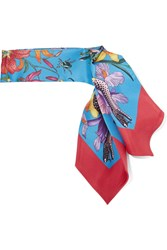 Gucci Flora Snake Printed Silk Twill Scarf Red