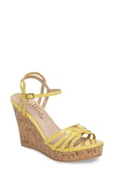 Callisto Women's Oasis Platform Wedge Sandal Yellow Synthetic