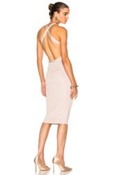 Cushnie Et Ochs For Fwrd Knit Pencil Dress With Crisscross Straps In Pink