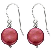 A B Davis Sterling Silver Freshwater Coin Pearl Drop Earrings Red