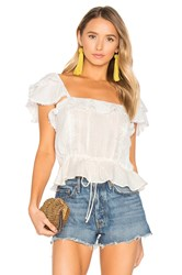 For Love And Lemons Crema Silk Blouse White