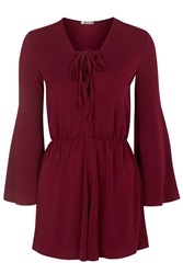 Lace Up Playsuit By Wal G Wine