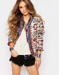 Glamorous Trophy Jacket In Festival Pattern With Embelishment Aztec Azquard Multi