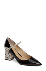 Marc Fisher Women's Ltd Zullys Snake Embossed Mary Jane Pump Black White Leather