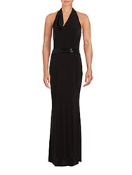 Laundry By Shelli Segal Drape Front Halter Gown Black