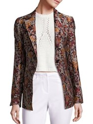 3.1 Phillip Lim Floral Print Cloque Blazer Brown
