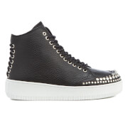 Mcq By Alexander Mcqueen Women's Netil Laced Eyelets Leather Hi Top Trainers Black