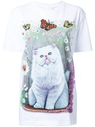 Wall Cat And Butterfly Print T Shirt White