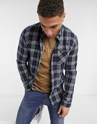 Solid Brushed Check Shirt In Navy