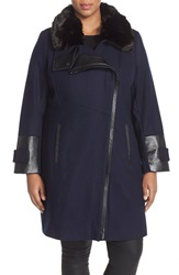 Via Spiga Faux Leather And Faux Fur Trim Asymmetrical Wool Blend Coat Plus Size Navy