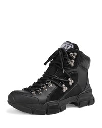 Gucci Journey Leather Canvas Hiking Boot Black