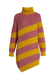 Marco De Vincenzo Oversized Striped Wool Sweater Yellow Multi