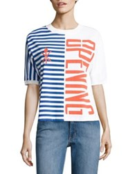 Opening Ceremony Striped Cotton Logo Tee Black Multi White Multi