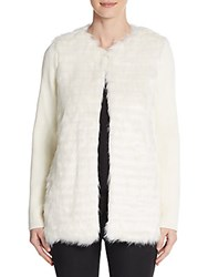 Kensie Ribbed Sleeve Faux Fur Jacket Pearl White