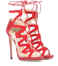 Jimmy Choo Dani 120 Suede And Leather Sandals Red
