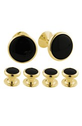Men's David Donahue Brass Cuff Link And Stud Set Yellow Brass Onyx