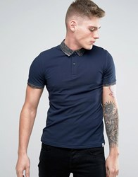 Jack And Jones Polo Shirt With Contrast Collar Navy