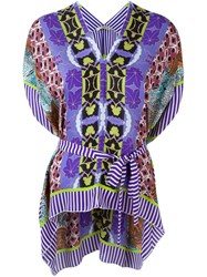 Etro Elastic Waist Multipattern Dolman Sleeve Blouse Pink And Purple