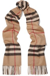 Burberry London London Checked Cashmere Scarf Camel