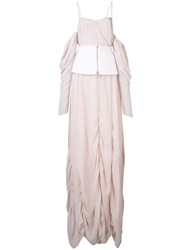 Vera Wang Off The Shoulder Draped Gown Pink Purple