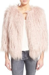 Pam And Gela 'Mongolian' Faux Fur Coat Pink