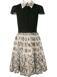 Alice Olivia Butterfly Embroidered Dress Black
