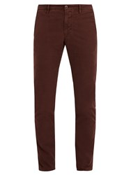 Incotex Slim Leg Stretch Cotton Chino Trousers Burgundy