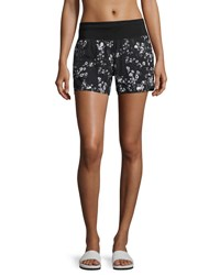 Marc New York Printed Dolphin Performance Shorts Black White