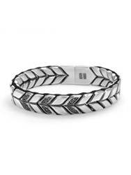 David Yurman Chevron Woven Bracelet With Black Diamonds Silver